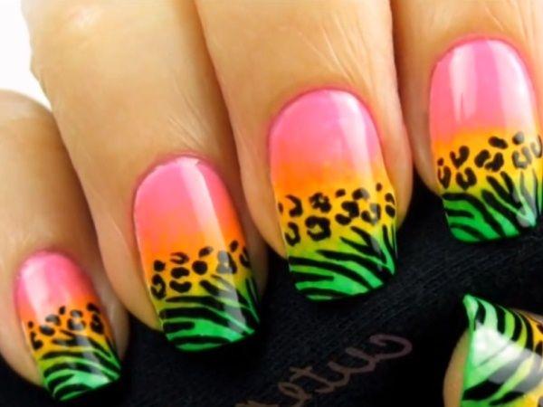 Неоновый леопардовый принт на ногтях