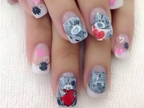 Очаровательные мишки Тедди на ногтях