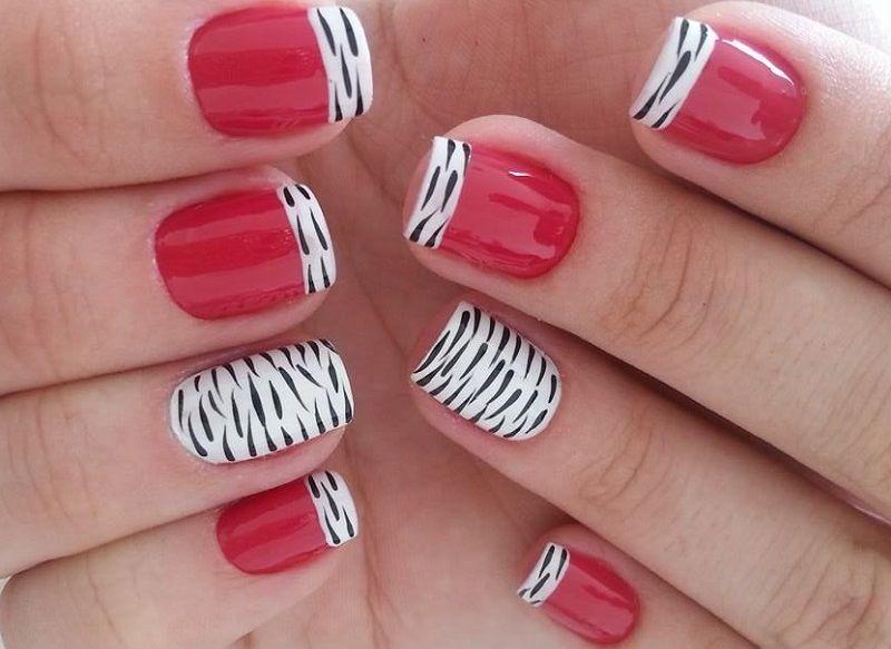 Дизайн ногтей с сочетанием красного, белого и черного цвета