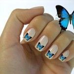 Летний маникюр с бабочками 1