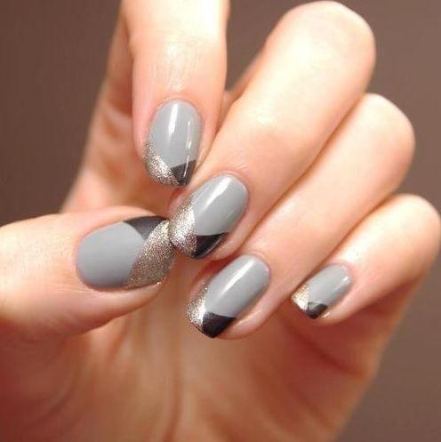 Маникюр серого цвета 1