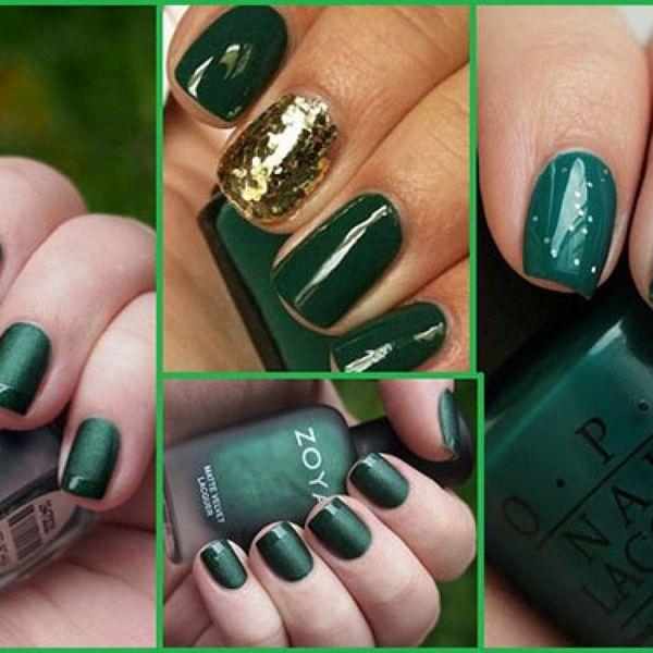 Дизайн ногтей с зеленым лаком