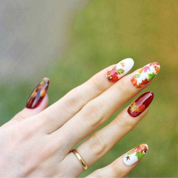 Кленовый лист на ногтях: фото и видео нейл-арта с листьям