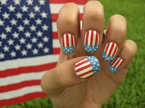 «Американский флаг» модный современных нейл-арт, маникюр
