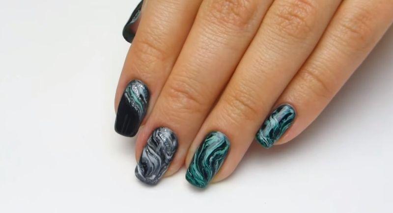 9.Мраморный дизайн ногтей