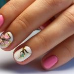 Дизайн ногтей розового и белого цвета