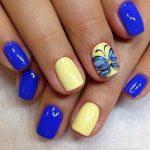 Шеллак желтого и синего цвета