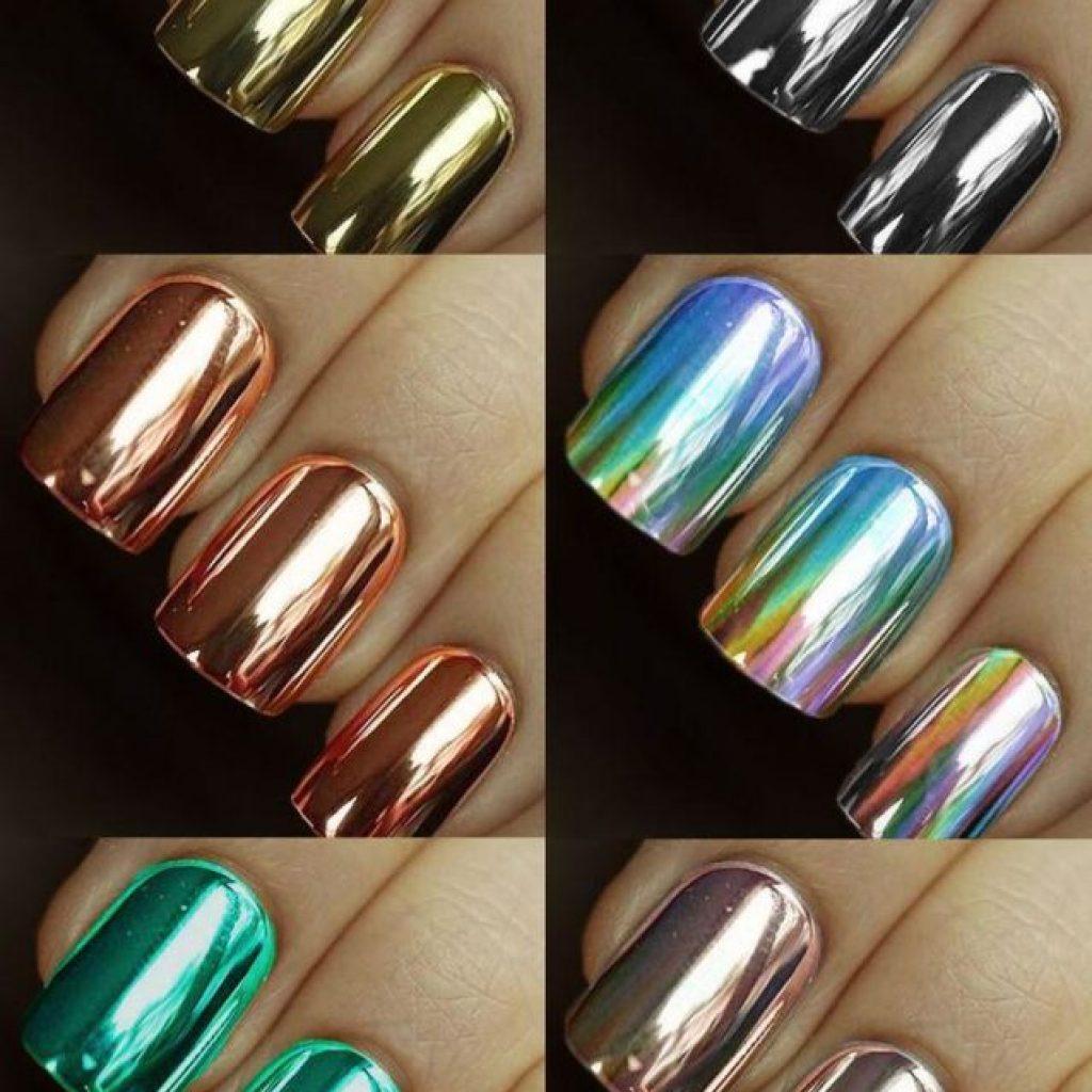 Различные цвета зеркального маникюра