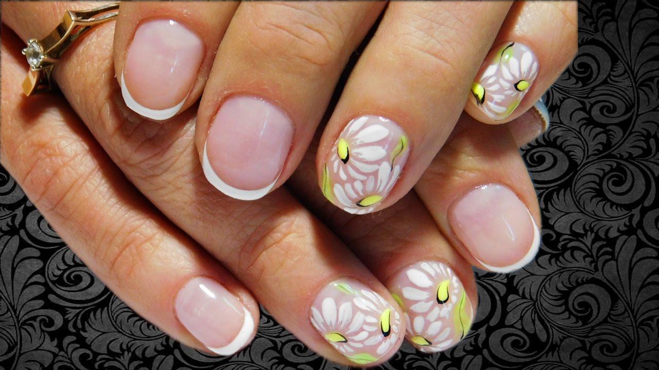 Как пошагово создать рисунок ромашки на ногтях гель-лаком