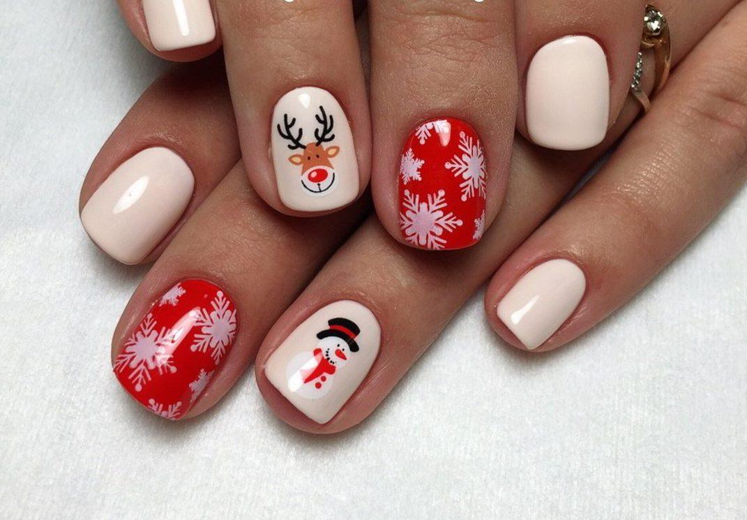 Новогодний дизайн ногтей при помощи гель-лака