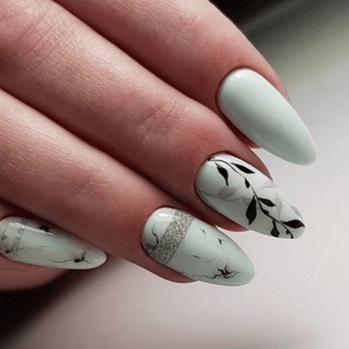 Маникюр на миндалевидные ногти