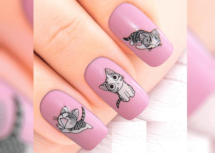 Картинка на ногтях кошка