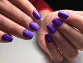 Фиолетовый маникюр с каплями
