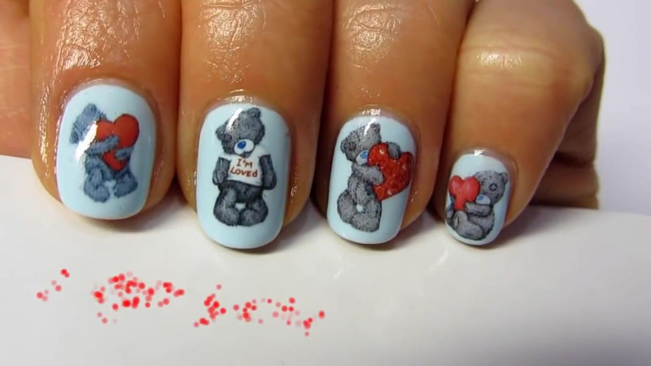 Как пошагово сделать красивый рисунок Мишки на ногтях