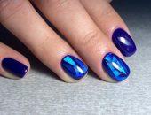 Маникюр битое стекло синего цвета