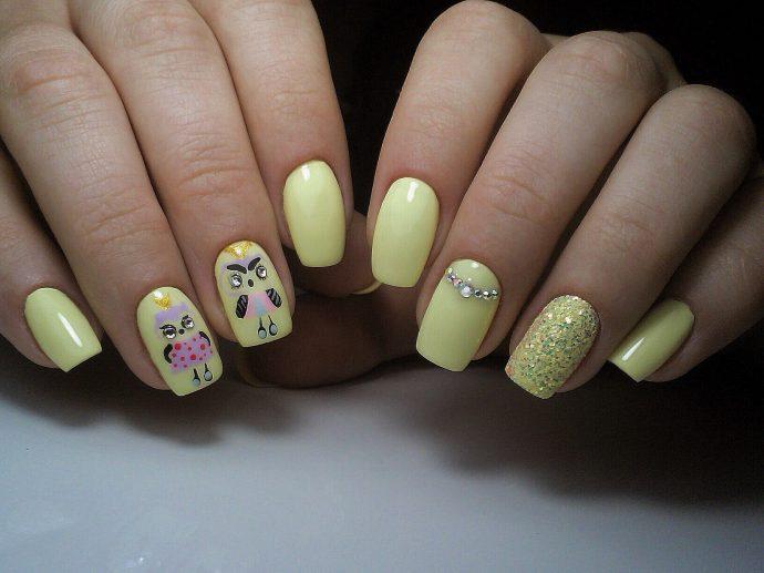 Смешные совы на ногтях
