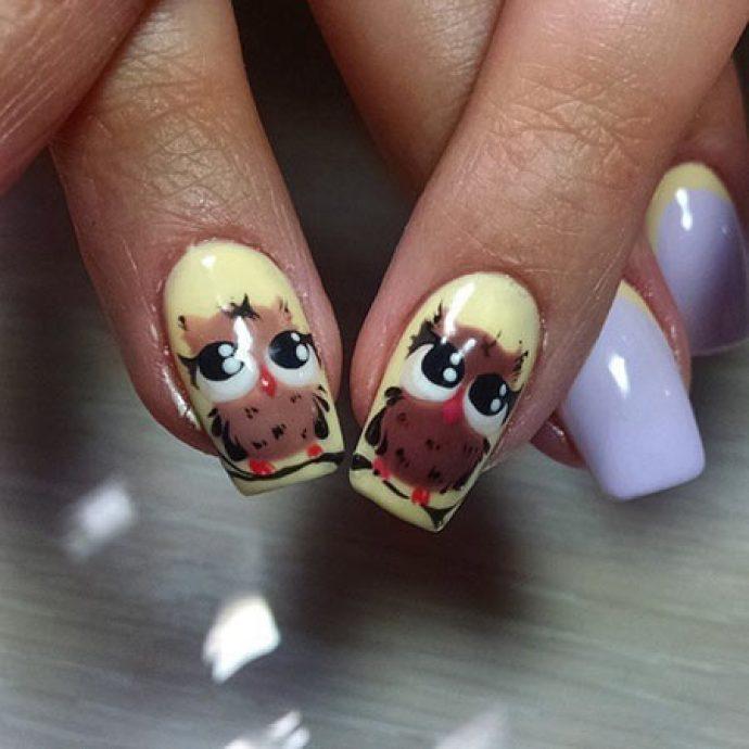 Смешные совята на ногтях