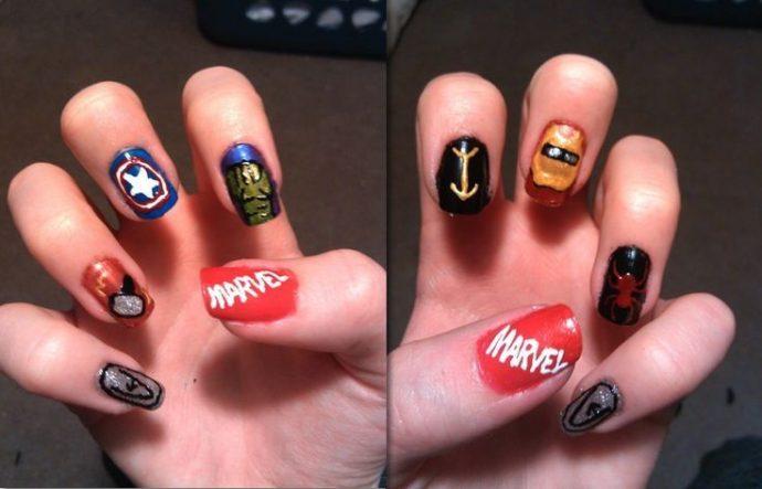 Маникюр Marvel и DC