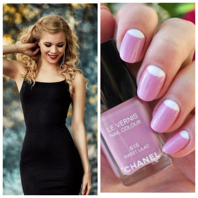 Девушка в черном платье и вариант розового маникюра