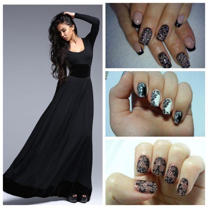 Девушка в вечернем платье черного цвета и варианты маникюра