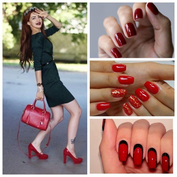 Девушка в черном платье и варианты красного маникюра