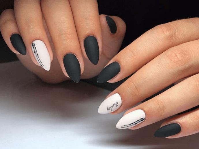 Картинки по запросу черные ногти с белым