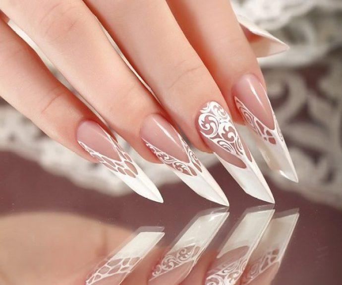 Свадебный маникюр на остые ногти