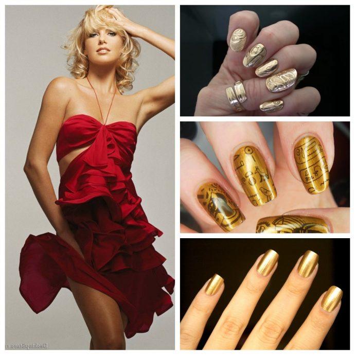 Золотой маникюр к красному платью