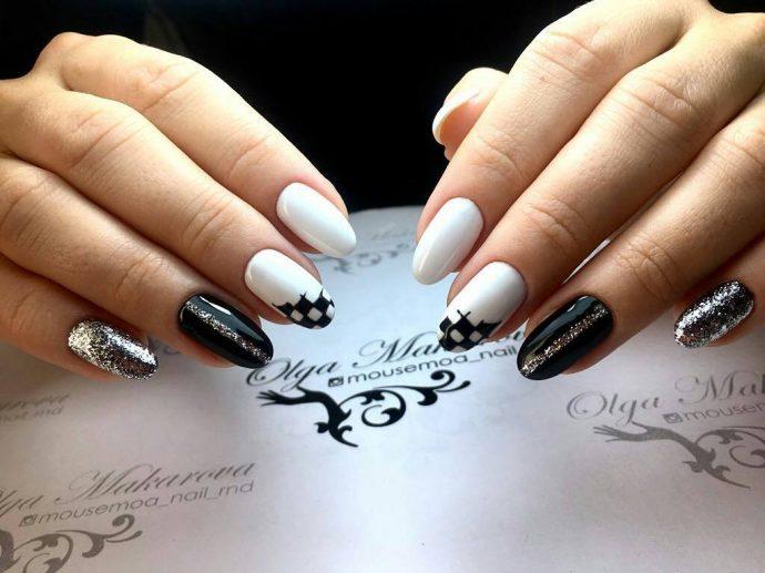 Шахматный дизайн ногтей