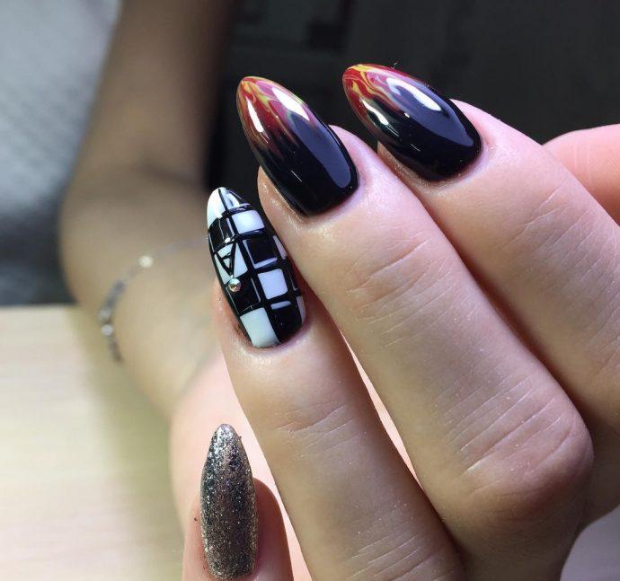 Идея шахматного дизайна ногтей