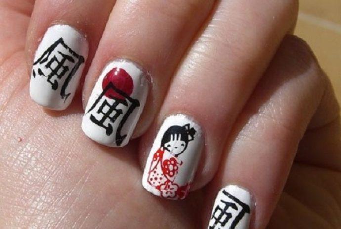 Вариант маникюра в японском стиле