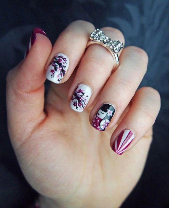 Дизайн ногтей в яполнском стиле