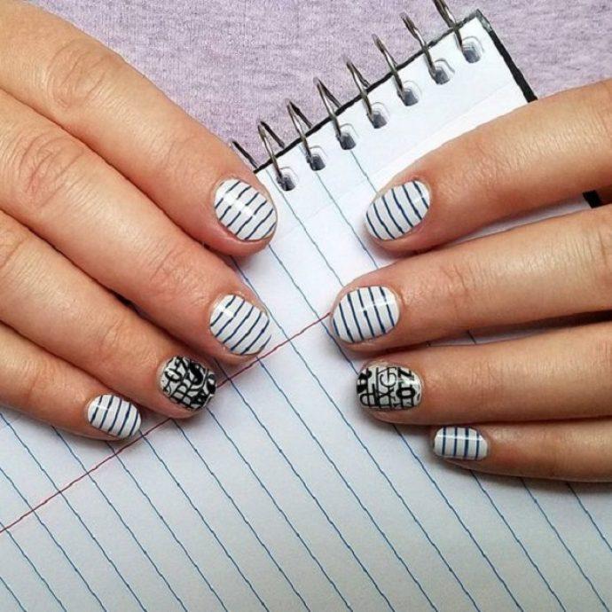 Дизайн ногтей к 1 сентября в черно-белых тонах