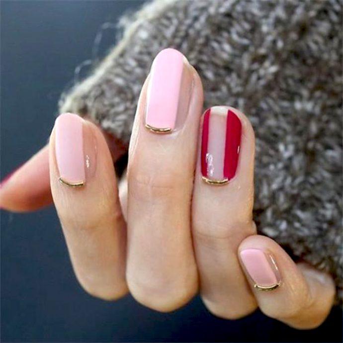 Контуринг ногтей с розовым, красным и прозрачным