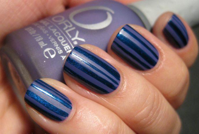 Контуринг ногтей синий