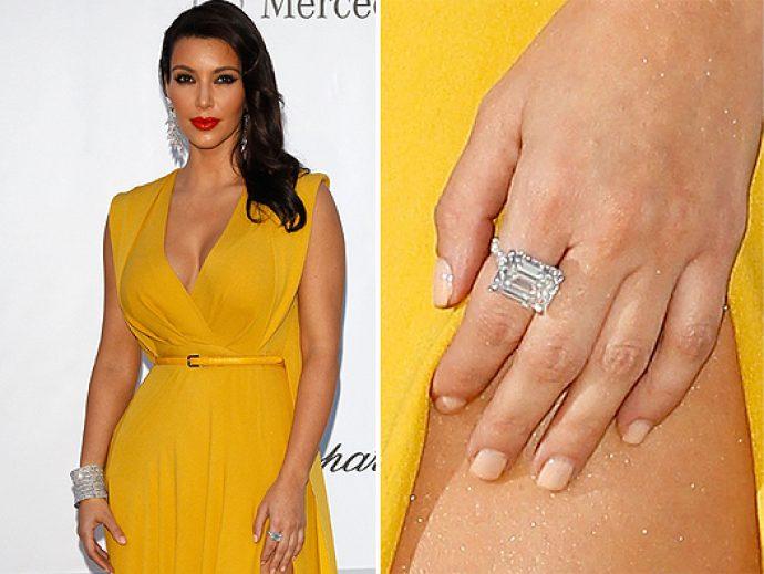 Ким Кардашьян в желтом платье