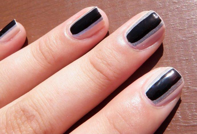 Контуринг ногтей черный с серебристым