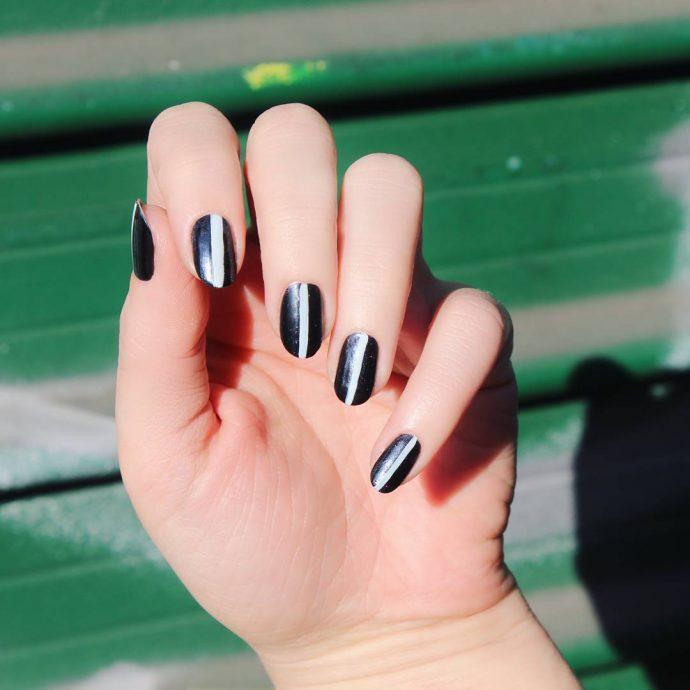 Контуринг ногтей черный с белым