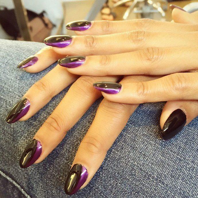 Контуринг ногтей черный с фиолетовым