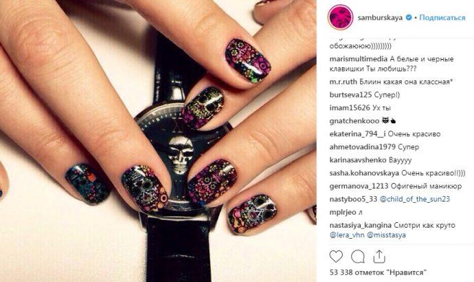 Необычный дизайн ногтей у Настасьи Самбурской