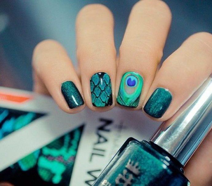 Оригинальный дизайн ногтей с пером