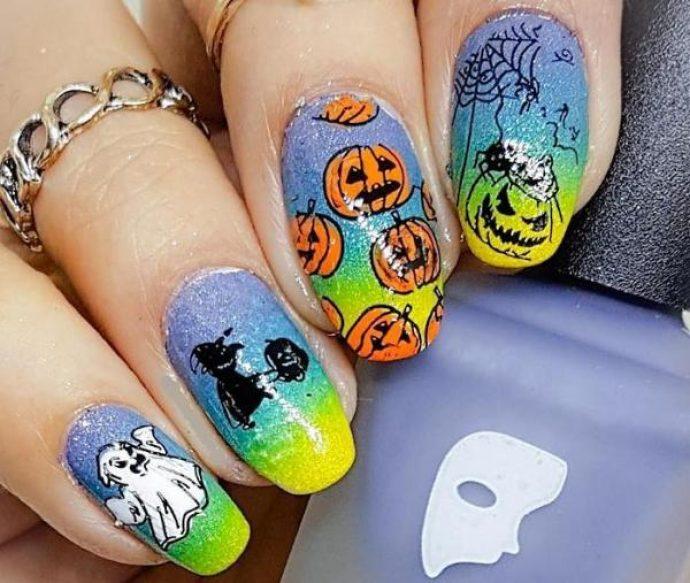 Маникюр с тыквами на Хэллоуин