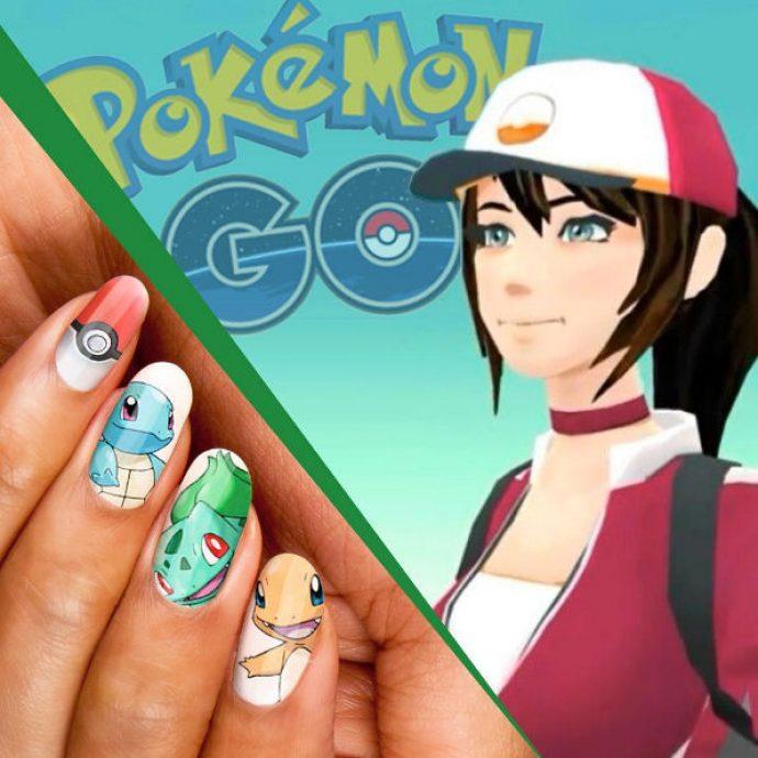 Вариант дизайна ногтей в стиле Pokemon Go