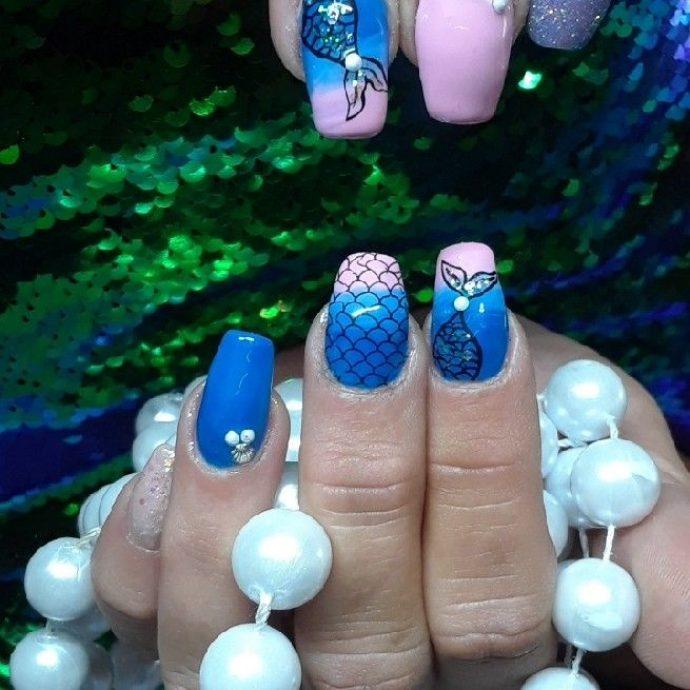 Дизайн ногтей с рыбьей чешуёй