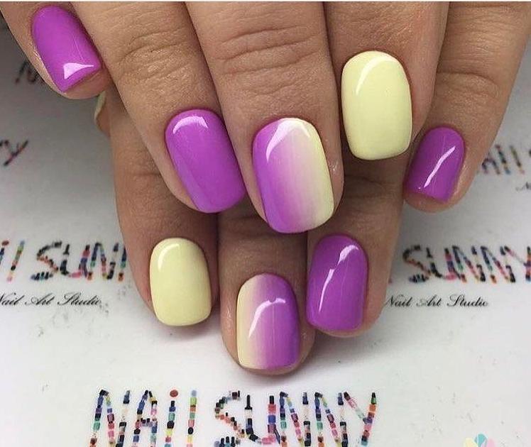Маникюр фиолетовый с желтым: Какой маникюр сегодня в моде?