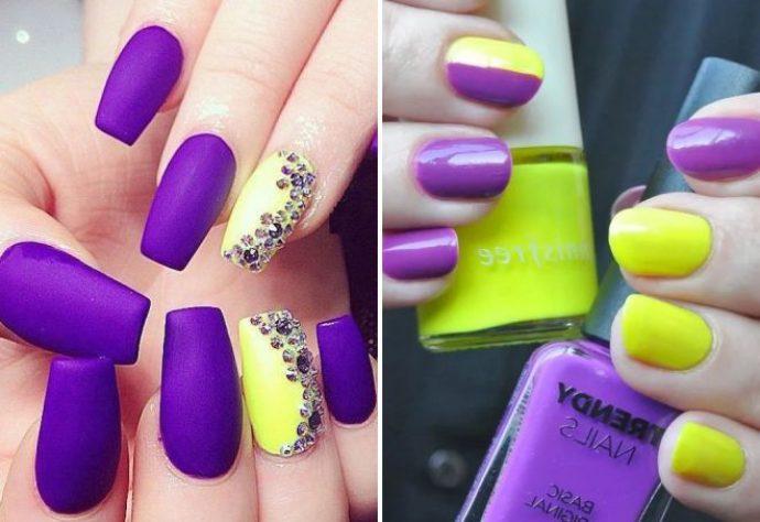 Маникюр сиреневый с желтым на короткие ногти – Необычный дизайн ногтей