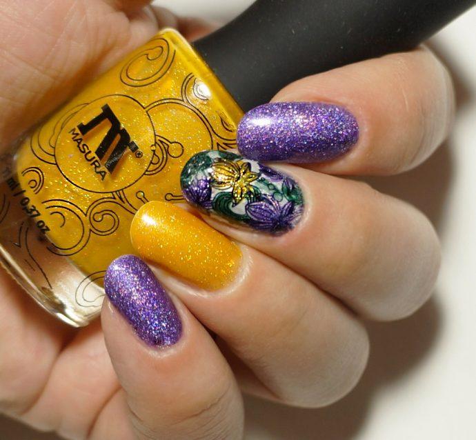 Фиолетово-желтый маникюр с блестками