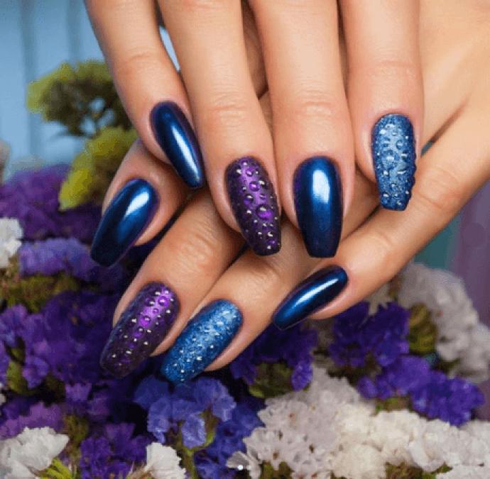 Маникюр балерина синий с фиолетовым