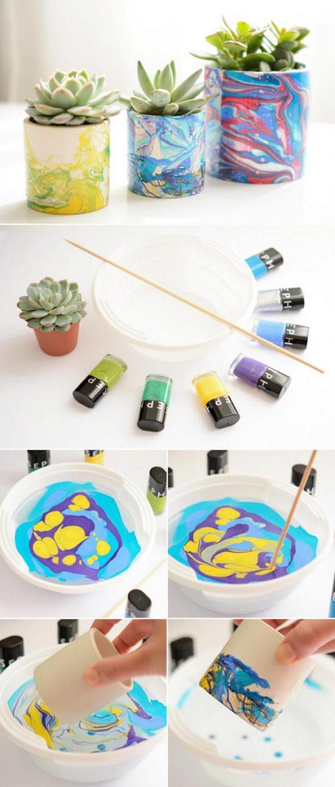 Декорирование цветочных горшков лаком для ногтей