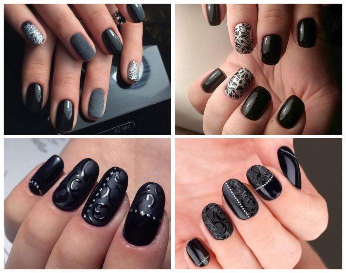 Роскошные узоры на ногтях в черно-серебристом маникюре